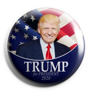 Trump 2020 - Red, White & Blue with Flag Campaign Button